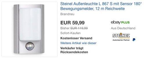 Steinel Außenleuchte L 867 S mit Bewegungsmelder - jetzt 35% billiger