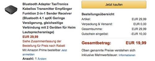 TaoTronics  2-in-1 Bluetooth Adapter - jetzt 33% billiger