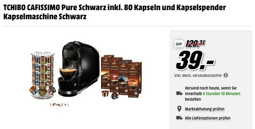 TCHIBO CAFISSIMO Pure Schwarz inkl. 80 Kapseln - jetzt 40% billiger