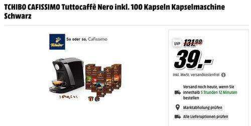 TCHIBO CAFISSIMO Tuttocaffè Nero inkl. 100 Kapseln  - jetzt 44% billiger