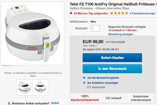 Tefal FZ 7100 ActiFry Original Heißluft Fritteuse - jetzt 15% billiger