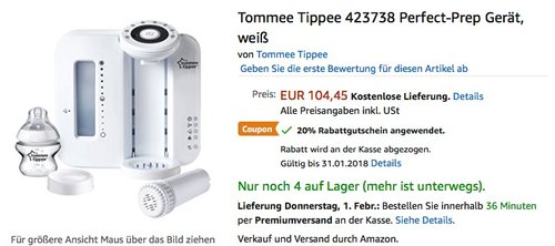 Tommee Tippee 423738 Perfect-Prep Gerät - jetzt 20% billiger