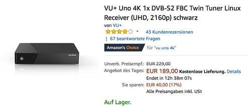 VU+ Uno 4K 1x DVB-S2 FBC Twin Tuner Linux Receiver - jetzt 17% billiger
