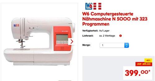 W6 Computergesteuerte Nähmaschine N 5000 mit 323 Programmen - jetzt 8% billiger