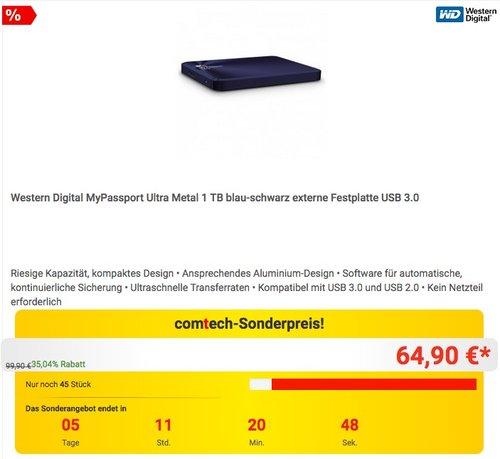 Western Digital MyPassport Ultra Metal 1 TB blau-schwarz - jetzt 32% billiger