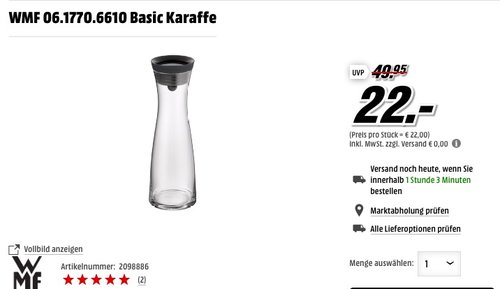 WMF Basic Karaffe 1 Liter - jetzt 24% billiger