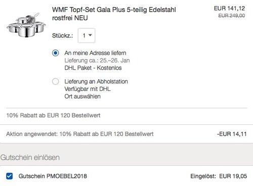 WMF Topf-Set Gala Plus 5-teilig - jetzt 46% billiger