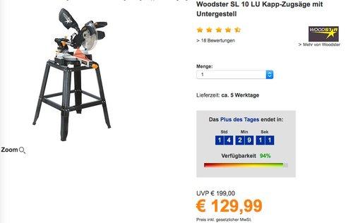 Woodster SL10LU Kapp-Zugsäge inkl. Untergestell - jetzt 14% billiger