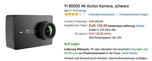 YI 90003 4K Action Kamera - jetzt 17% billiger