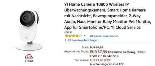YI Home Camera 1080p IP Überwachungskamera - jetzt 41% billiger