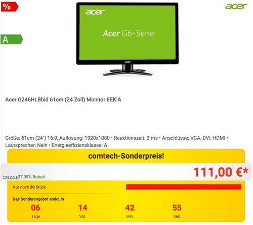 Acer G246HLBbid 61 cm (24 Zoll) TFT-Monitor (VGA, DVI, HDMI, 2 ms Reaktionszeit) schwarz - jetzt 21% billiger