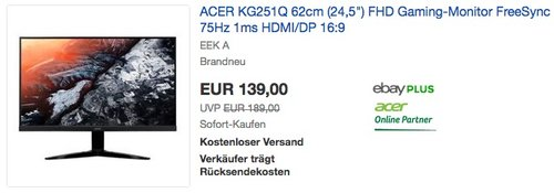 "ACER KG251Q 62cm (24,5"") FHD Gaming-Monitor - jetzt 26% billiger"