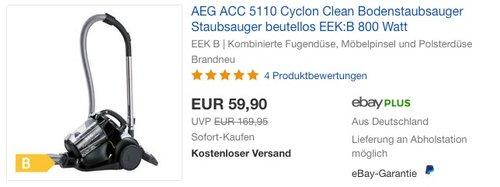 AEG ACC 5110 Cyclon Clean Bodenstaubsauger - jetzt 12% billiger