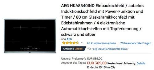 AEG HKA8540IND Einbaukochfeld, autarkes Induktionskochfeld mit Power-Funktion und Timer - jetzt 11% billiger