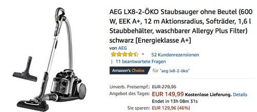 AEG LX8-2-ÖKO Staubsauger - jetzt 44% billiger