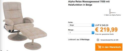 Alpha Relax Massagesessel 7050 - jetzt 45% billiger