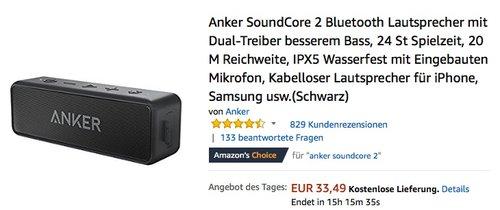 Anker SoundCore 2 Bluetooth Lautsprecher Schwarz - jetzt 17% billiger