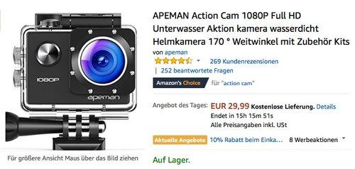 APEMAN Action Cam 1080P Full HD - jetzt 29% billiger