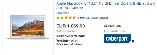 "Apple MacBook Air 13,3"" 1,8 GHz Intel Core i5 8 GB 256 GB SSD MQD42D/A - jetzt 7% billiger"