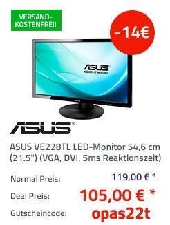 """ASUS VE228TL LED-Monitor 54,6 cm (21.5"""") - jetzt 12% billiger"""