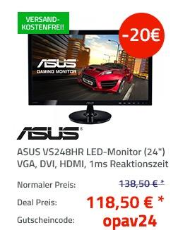 Asus VS248HR 61 cm (24 Zoll) Monitor (VGA, DVI, HDMI, 1ms Reaktionszeit) schwarz - jetzt 12% billiger