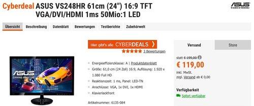 Asus VS248HR 61 cm (24 Zoll) Monitor (VGA, DVI, HDMI, 1ms Reaktionszeit) - jetzt 11% billiger