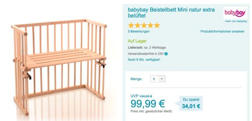 babybay Beistellbett Mini - jetzt 12% billiger
