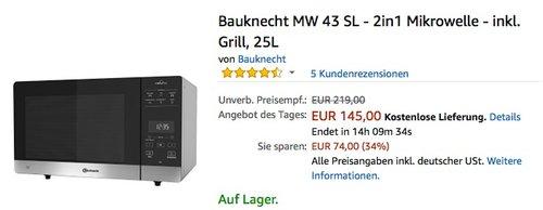 Bauknecht MW 43 SL - 2in1 Mikrowelle - inkl. Grill - jetzt 13% billiger