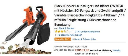 Black+Decker GW3030 Laubsauger und Bläser - jetzt 20% billiger
