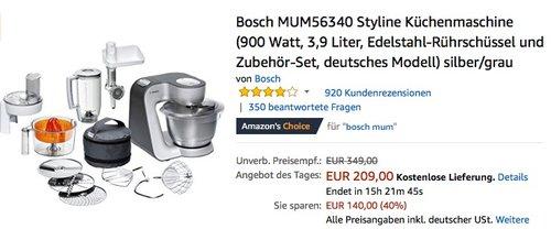 Bosch MUM56340 Styline Küchenmaschine - jetzt 18% billiger