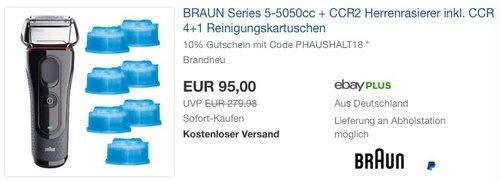 Braun Series 5 5050cc Rasierer mit Reinigungskartuschen - jetzt 10% billiger
