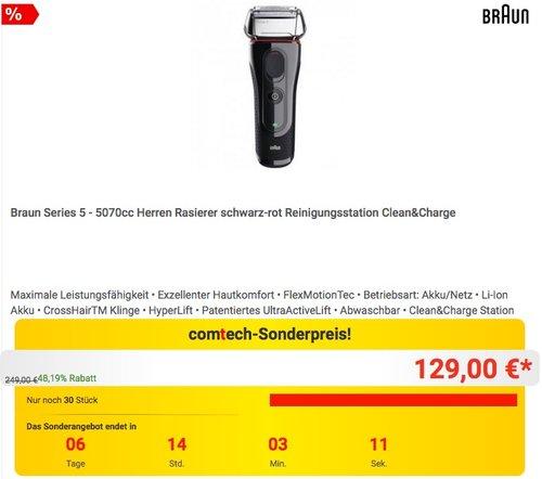 Braun Series 5 - 5070cc Herren Rasierer schwarz-rot Reinigungsstation Clean&Charge - jetzt 13% billiger