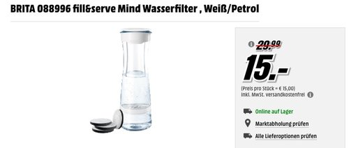 Brita fill&serve Wasserfilter-Karaffe Starterpaket inkl. 4 MicroDisc - jetzt 23% billiger