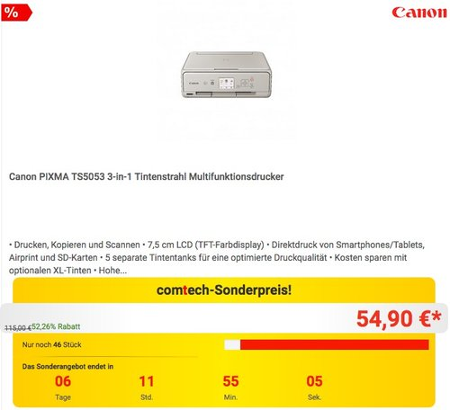 Canon PIXMA TS5053 3-in-1 Tintenstrahl Multifunktionsdrucker - jetzt 12% billiger
