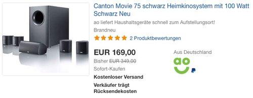 Canton Movie 75 Heimkinosystem schwarz - jetzt 13% billiger