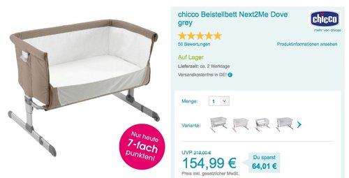 Chicco Beistellbett Next2Me, dove grey - jetzt 8% billiger