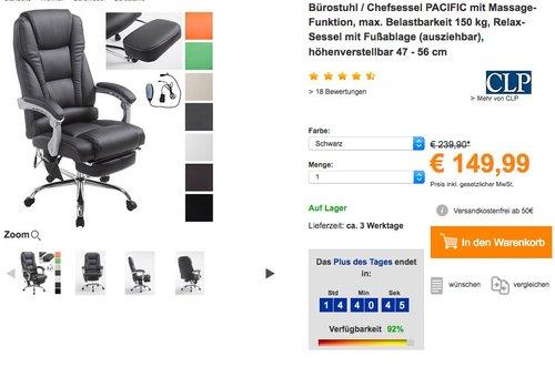 CLP Bürostuhl / Chefsessel PACIFIC mit Massagefunktion - jetzt 17% billiger