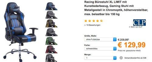 CLP Racing Bürostuhl XL LIMIT mit Kunstlederbezug - jetzt 13% billiger