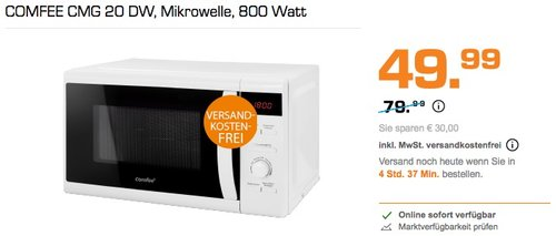 COMFEE CMG 20 DW, Mikrowelle, 800 Watt - jetzt 28% billiger