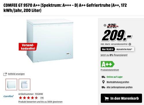 COMFEE GT 9570 Gefriertruhe - jetzt 23% billiger