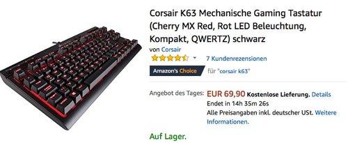 Corsair K63 Mechanische Gaming Tastatur - jetzt 20% billiger