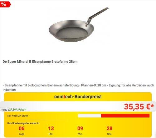 De Buyer Mineral B Eisenpfanne Bratpfanne 28cm - jetzt 9% billiger