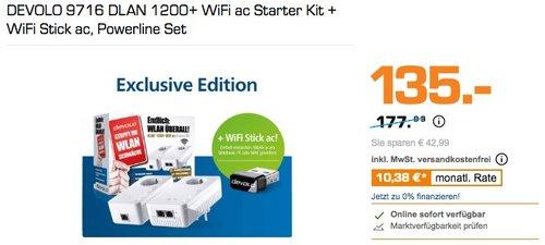 DEVOLO 9716 DLAN 1200+ WiFi ac Starter Kit + WiFi Stick ac Powerline Set - jetzt 17% billiger