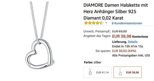 DIAMORE Damen Halskette mit Herz Anhänger Silber 925 Diamant 0,02 Karat - jetzt 20% billiger