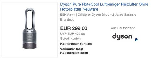 Dyson Pure Hot + Cool Luftreiniger - jetzt 21% billiger