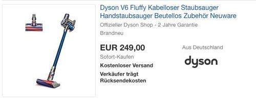 Dyson V6 Fluffy beutel- & kabelloser Staubsauger inkl. Elektrobürste mit Softwalze - jetzt 11% billiger