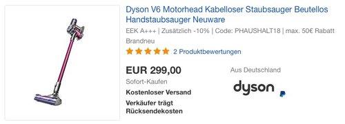 Dyson V6 Motorhead Kabelloser Staubsauger - jetzt 25% billiger