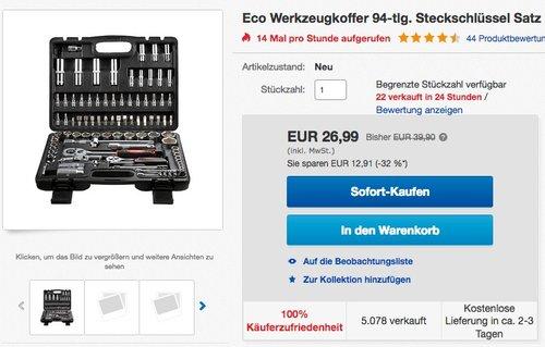 Eco Werkzeugkoffer 94-tlg. - jetzt 27% billiger