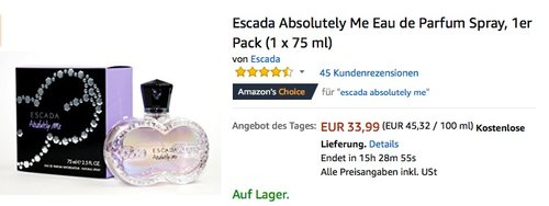 Escada Absolutely Me Eau de Parfum Spray, 1er Pack (1 x 75 ml) - jetzt 14% billiger