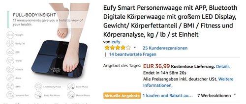 Eufy Smart Personenwaage mit APP - jetzt 34% billiger